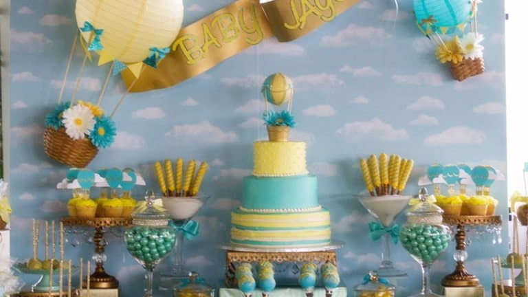 Up Balloon Baby Boy Shower Theme